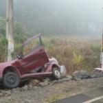Veículo Gol após o acidente em Santa Cruz do Timbó